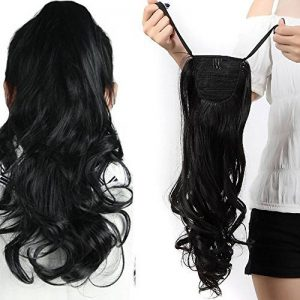 "18"" Queue de Cheval Postiche Extension de Cheveux (Attachée par bandeau) Ondulé - Wrap Around Tie Binding Ponytail Extensions - Noir Naturel (45cm) de la marque Elailite image 0 produit"