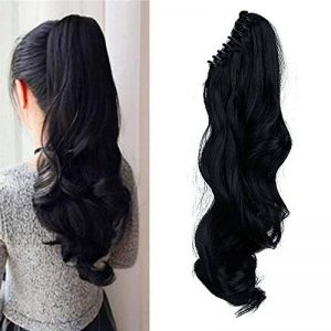 "18"" Queue de Cheval Postiche Extension de Cheveux (Attachée par Pince/Griffe) Ondulé - Claw on Ponytail Clip in Hair Extensions - Noir (45cm-145g) de la marque Elailite image 0 produit"
