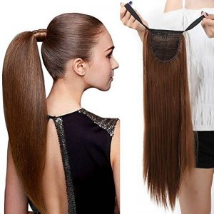 "22"" Queue de Cheval Postiche Extension de Cheveux (Attachée par bandeau) Lisse - Wrap Around Tie Binding Ponytail Extensions - Marron Clair (55cm) de la marque Elailite image 0 produit"