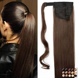 "23"" Queue de Cheval Postiche Extension de Cheveux Lisse - Wrap Around Ponytail Clip in Hair Extensions - Marron (58cm-120g) de la marque Elailite image 0 produit"