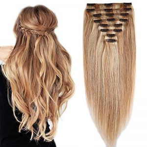 Extension Cheveux Naturel a Clip Maxi Epaisseur Extensions Cheveux Clips Naturel - 100% Remy Hair - 8 Pcs Clip in Human Hair Extensions Double Weft (#18+613 SABLE BLOND MECHE BLOND CLAIR, 25CM 110G) de la marque Elailite image 0 produit