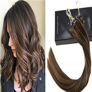 LaaVoo 35cm Cheveux Pose a Froid Easy Loop Micro Ring Tissage Invisible Extensions Cheveux Loops Highlighted Marron Fonce et Blonde Caramel 50GR de la marque LaaVoo image 0 produit