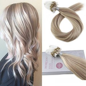 Moresoo Remy Loop Micro Ring 100% Extensions De Cheveux Humain Brun with Blonde 22 Pouces Micro Beads Extensions 1g/Strand 50g de la marque Moresoo image 0 produit