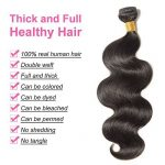 "Tissage Bresilien en Lot Ondulé 3 Bundles Meches Bresiliennes Extension Cheveux Naturel Noir Naturel - Grade 7A Brazilian 100% Human Hair Body Wave - 20""22""24"" de la marque Rich Choices image 2 produit"